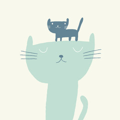 Vector illustration of a cute cat and a kitten for fathers day