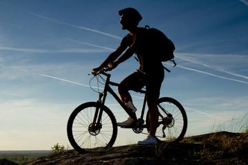 Young man riding mountain bike