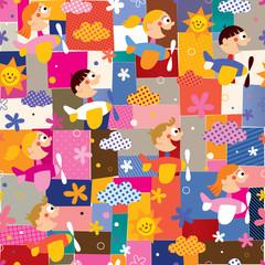 children in airplanes collage pattern