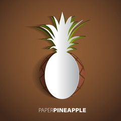 Paper pineapple cutout - vector illustration design card - EPS10