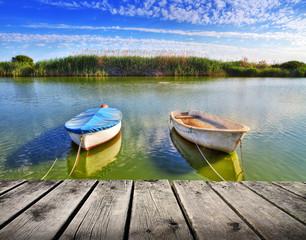 barcas en el embarcadeo del rio