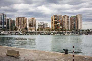 Malaga Harbor and City - Spain