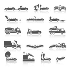 Black and white car crash icons