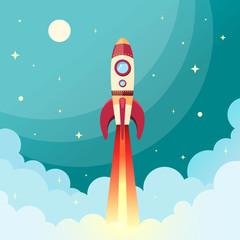 Obraz premium Odbitka rakiety kosmicznej