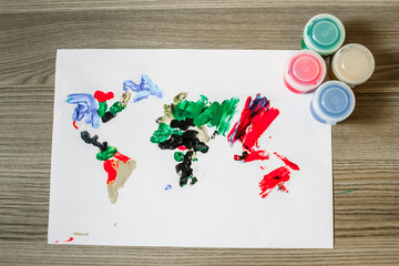 World Map, Painted by Finger Paint