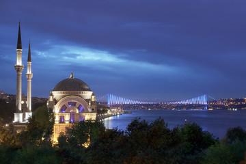 Istanbul - Dolmabahçe Mosque and Bosphorus Bridge