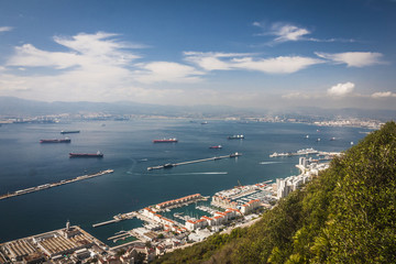 Scenic view from above over Gibraltar Bay and town