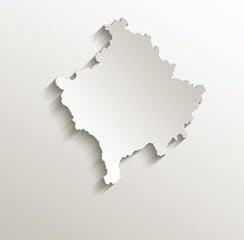 Kosovo map card paper 3D natural vector