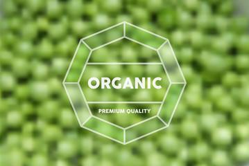 Organic food retro label peas blurred background