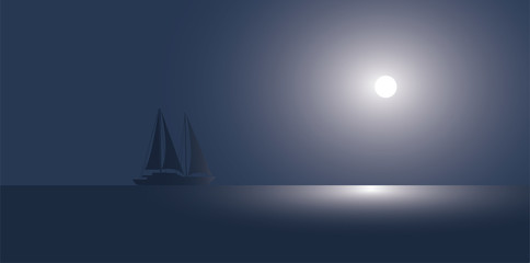 The yacht at the ocean against the coming sun