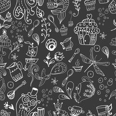 Seamless funny tea time background, doodle illustration