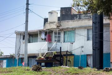 Facade of a house in a city, Mexico City, Mexico