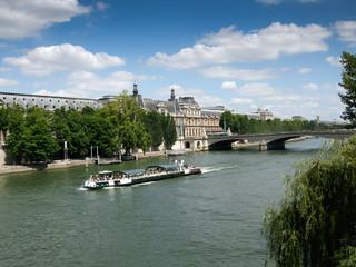Passenger boat in a river, Pont De l'Archeveche, Seine River, Pa