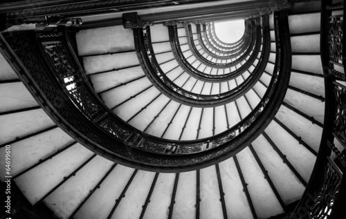 Exceptional Low Angle View Of Spiral Staircase, Chicago, Cook County, Illino