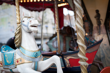 Carousel in an amusement park, Dinan, Cotes-D'Armor, Brittany, F