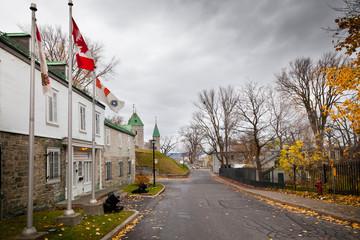 Buildings along a road, Quebec City, Quebec, Canada