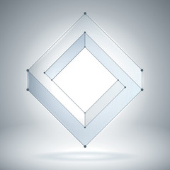 Impossible figure, transparent geometric object, vector form