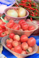 Fresh Tomatoes in the market.