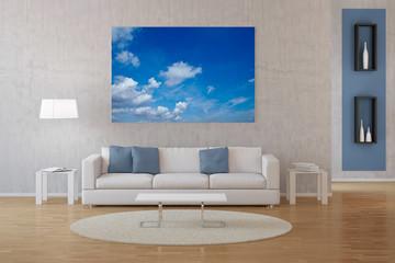 Interior von Wohnzimmer mit Foto auf Leinwand