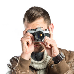 young men with a camera