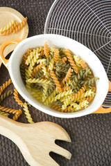 raw colorful pasta