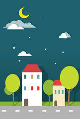 houses at night paper vector