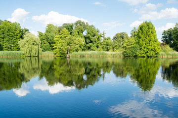 Landscape with trees, reflecting in the water, Potsdam, Germany