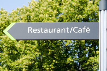 Sign of a cafe restaurant, Hannover, Germany