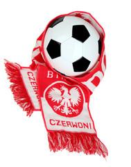 Football Polish symbols: fans scarf and football