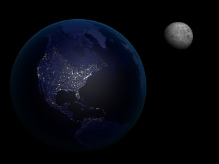 3D rendering Earth and  Moon in the night, high resolution