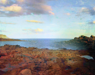 Panoramic view over Coast, grunge abstract landscape
