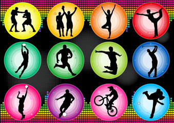 sport basketball soccer baseball yoga icon