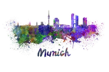 Fotomurales - Munich skyline in watercolor