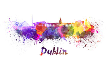 Fotomurales - Dublin skyline in watercolor