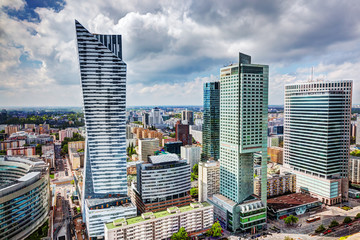 Warsaw, Poland. Downtown business skyscrapers, city center