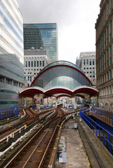 Canary Wharf DLR docklands station in London