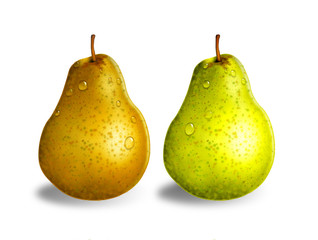 Green and yellow pears, isolated on white background