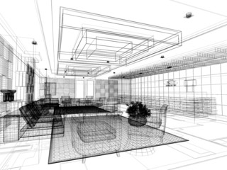 sketch design of lobby ,3dwire frame render