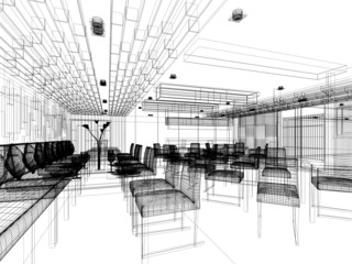 sketch design of interior restaurant