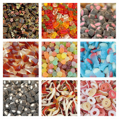 assorted jelly candies collage