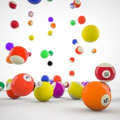 closeup of billiard balls
