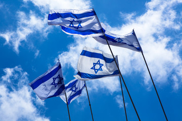 Israeli flags in the sky