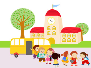 Illustration of Kids Waiting to Get in the Bus
