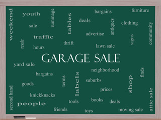 Garage Sale Word Cloud Concept on a Blackboard