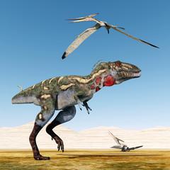 Dinosaur Nanotyrannus and Pterosaur Pteranodon