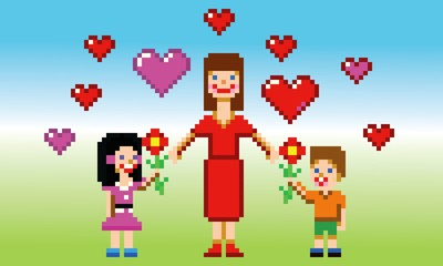 happy mothers day card pixel art style vector