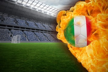 Fire surrounding italy flag football