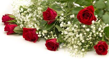 rote Rosen mit Schleierkraut