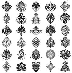 Damask floral pattern set