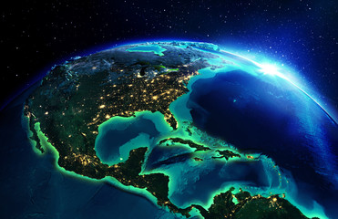 land area in North America the night